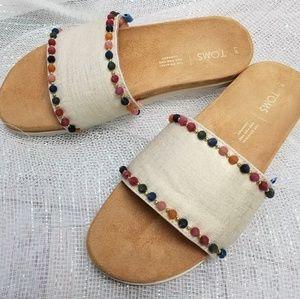 Toms Paradise Slide Pom Pom Sandal Size 7